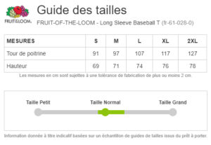 guide taille t-shirt homme fruit of the loom t-shirt manche longue 2